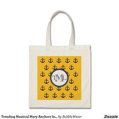 Trending Nautical Navy Anchors Initials Monogram Budget Tote Bag