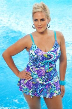 f264aed51ad Plus-Size Swim Dresses and Swimsuits for Women. Women s Plus Size Swimwear  - Always For Me Chic Prints Santee Swim Mini Style