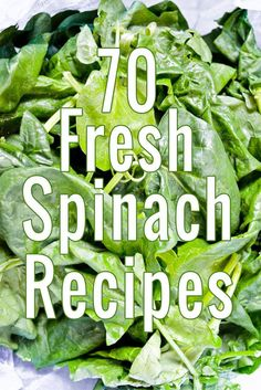 Got fresh spinach and not sure what to do with it? I have 70 delicious spinach r. Got fresh spinach and not sure what to do with it? I have 70 delicious spinach recipes and ideas to get your creative juices flowing! Cooked Spinach Recipes, Cook Fresh Spinach, Creamed Spinach, Vegetable Recipes, Vegetarian Recipes, Cooking Recipes, Healthy Recipes, Cooking Games, Spinach Souffle Recipe With Fresh Spinach