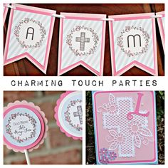 First Communion / Baptism / Christening Party-In-A-Box by Charming Touch Parties. 3 piece kit, deluxe and customizable. Pink and blue. by CharmingTouchParties on Etsy