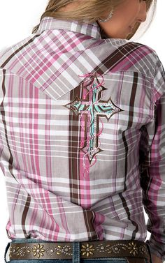 I think I'm going to do this to some of my plaid shirts - Cowgirl Hardware® Women's White, Pink & Brown Plaid with Zebra Cross Long Sleeve Western Shirt Cowgirl Outfits, Cowgirl Style, Western Outfits, Western Wear, Gypsy Cowgirl, Cowgirl Fashion, Rodeo Shirts, Cowgirl Shirts, Western Shirts