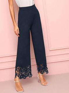 Closure Type: Elastic WaistColor: Navy, YellowDetails: Cut OutFabric: Fabric has no stretchFit Type: LooseComposition: 100% PolyesterPant Length: LongPant Type: Wide LegPattern Type: PlainSeason: Spring/Summer/FallStyle: ElegantWaist Type: High WaistMaterial: Polyester