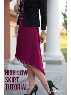 high low skirt:: tutorial - http://www.elleapparelblog.com/?p=470