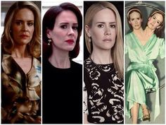 Sarah Paulson as Billie Dean in Murder House, Lana Winters in Asylum, Cordelia in Coven, and Bette and Dot Tattler in Freak Show.