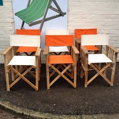 Teak Directors Chairs With Striped Covers   Wooden Directors Chairs /  Folding Garden Chairs In Over 50 Different Stripes UK