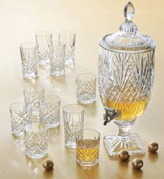 Long, faceted cuts in a traditional starburst pattern make this set of luxurious crystal highball glasses sparkle and shine. | Crystal | Hand wash | Includes four 8-oz. double old-fashioned and four 8