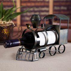 Train Wine Rack Practical Sculp Home Decor