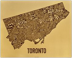 """$27 As the hub of Canada's Golden Horseshoe, Toronto earned this golden speckled (yes metallic!) paper.  30"""" x 24"""" Brown ink  Gold metallic, 30% recycled paper by Wausau Paper (King's Gold)"""