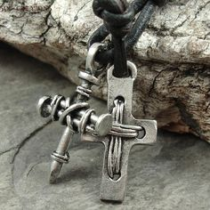 Mens Nail Cross Leather Surfer Necklace Pendant Pewter Adjustable Surf Eco Sol #SolCreations #Surfer