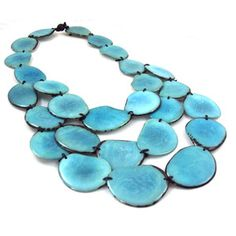 Not typically a big jewelry person but this is beautiful. Tagua Triple Necklace Turquoise