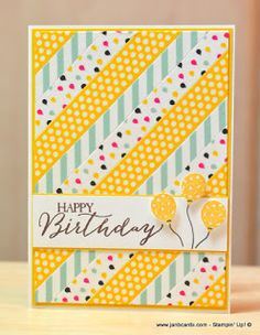 handmde birthday card from JanB Handmade Cards Atelier: More playtime with Washi Tape ... bright yellow tape stands out making the diagonal lines stand out .... Stampin' Up!