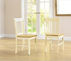 Genovia Solid Hardwood & Painted Dining Chairs (Pair) - Oak & Cream