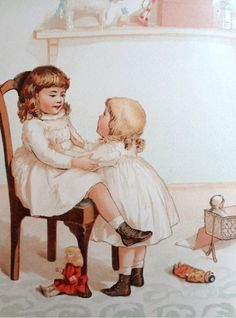 """Children's Antique/Prints Ida Waugh """"Tell Me a Story"""" Chromolithograph 1888 #Vintage127yearsold"""