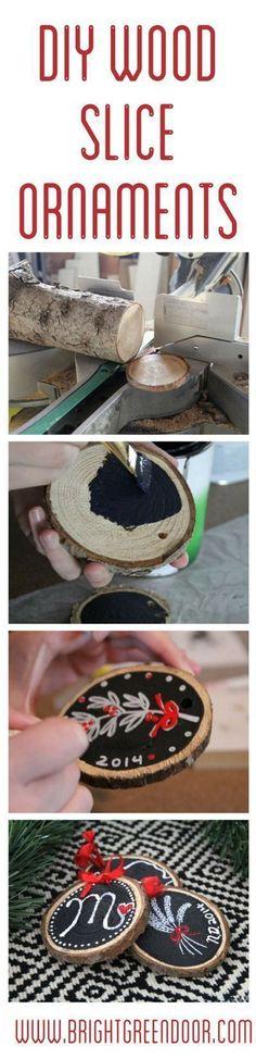 DIY Wood Slice Ornaments http://www.BrightGreenDoor.com