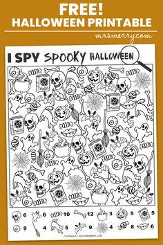 Free I Spy Halloween Printable - Spooky Halloween Activity for Kids - Mrs. Merry