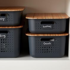 Charcoal Nordic Storage Baskets with Handles - New Deko Sites Home Organisation, Kitchen Organization, Kitchen Storage Baskets, Dollar Store Organization, Organization Ideas, Pantry Storage Containers, Storage Bins With Lids, Storage Ideas, Shelves With Baskets