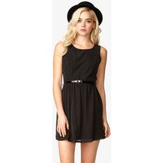 FOREVER 21 Swiss Dot Dress w/ Skinny Belt ($25) ❤ liked on Polyvore