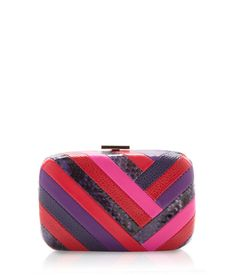 Party Girl Box Clutch made with chevron leather.