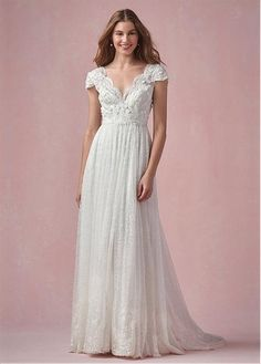 Buy discount Graceful Lace V-neck Neckline A-line Wedding Dresses with Beadings & Sequins at Dressilyme.com