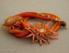 Crocheted bead necklace  Orange Sun by beadedmischka on Etsy