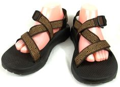 Chaco Mens Brown Fabric Sports Sandals Size 10 M Shoes #Chaco #SportSandals