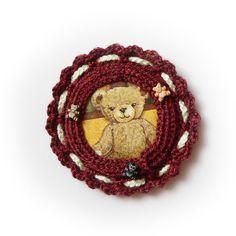 Broszka - Misiek w SolmilarArt na DaWanda.com Grapevine Wreath, Grape Vines, Teddy Bear, Wreaths, Animals, Etsy, Animales, Door Wreaths, Animaux