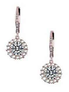 Rose Gold & CZ Drop Earrings by Genevive Jewelry at Gilt