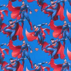 Kretong  Superman 2 – blå - Barndekorationstyger- tyg.se