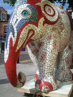 Elephant mosaic sculpture, red, white and blue