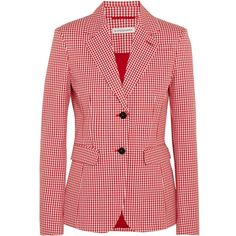 Altuzarra Fenice gingham cotton-blend twill blazer (1,520 BAM) ❤ liked on Polyvore featuring outerwear, jackets, blazers, twill blazer, red blazers, shoulder pad jacket, red blazer jacket and twill jacket