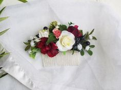 Rustic flower hair comb, Large Faux Comb - Red and white flower comb Flower Hair, Flowers In Hair, Purple Flowers, White Flowers, Wedding Flowers, Rustic Flowers, Faux Flowers, Dried Flowers, Hair Combs