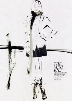 Yoco Nagamiya - In-Style Magazine Illustration Mode, Fashion Illustration Sketches, Fashion Sketchbook, Fashion Sketches, Fashion Drawings, Watercolor Fashion, Amazing Drawings, Illustrations And Posters, Fashion Art