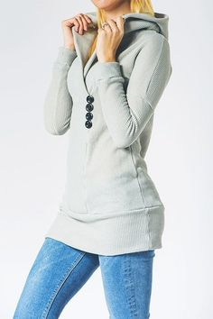 Cupshe Just Me Button Hooded Sweatshirt