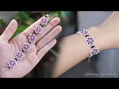 Cherry blossom bracelet. How to make beaded bracelet with only seed beads. Beading tutorial - YouTube Seed Bead Bracelets Tutorials, Making Bracelets With Beads, Beaded Bracelets Tutorial, Beaded Bracelet Patterns, Beading Tutorials, Handmade Bracelets, Handmade Jewelry, Jewelry Making, Beaded Flowers Patterns