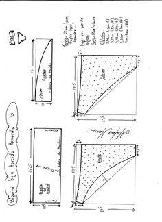 Esquema de modelagem de biquíni com bojo torcido tamanho G.