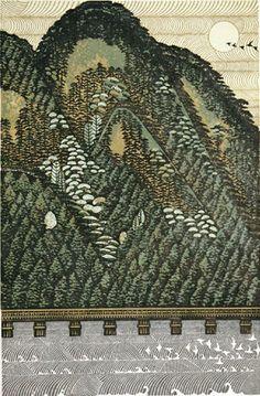 Togetsu-kyo bridge, Kyoto, by Ray Morimura, 2005 Art Occidental, Japanese Woodcut, Japanese Prints, Japanese Modern, Japanese Painting, Landscape Prints, Japan Art, Print Artist, Woodblock Print