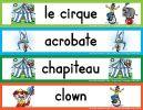 Étiquettes géantes en couleurs (4 par page) Amelie Pepin, Clowns, Stage, School, Preschool Circus, Big Top, Preschool, Posters, Tools