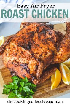 You're going to love how easy this family-sized air fryer roast chicken is! A whole chicken is covered in a dry spice rub and then air fried to crispy, golden perfection with a hint of lemon and herbs. The meat is juicy and tender with perfect, extra crispy skin – every time! All you need is a few simple ingredients for this healthy, easy weeknight roast that the whole family will enjoy. Quick Easy Meals, Easy Dinner Recipes, Easy Recipes, Air Fryer Chicken Wings, Recipes With Few Ingredients, Air Fryer Healthy, Spice Rub, Roasted Meat, Roast Chicken
