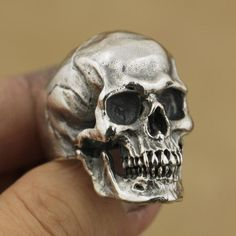 925 Sterling Silver High Detail Skull Ring