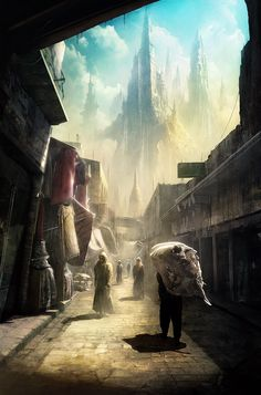 Kentaro Kanamoto | Concepts / Illustrations  When you look at this, it feels like you are actually in the illustration looking into this fantasy city.