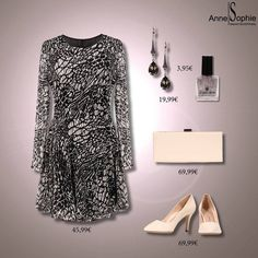 """Casual chic 2015 black and white print dress with white pumps. Anne-Sophie SMARTSHOPPING offers a feminine ready-to-wear """"Casual Chic"""" collection for a year-round feminine look."""