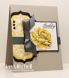 DSP from retired Beyond the Garden, and new Stippled Blossoms set in daffodil delight and gray - thanks Jen!