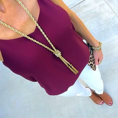 Express burgundy cami + gold tassel necklace + white skinny jeans + cognac peep toe booties + leopard clutch + Stella & Dot Jacinthe Bracelet [Instagram: @ontheDailyX]