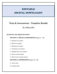 tests assessments template bundle by alldayaba