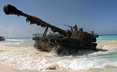 Spanish Army M109A5 155mm Self-propelled Howitzer comes ashore at El Omayed, Egypt, as US, Spanish and Egyptian Forces conduct amphibious operations, during Exercise BRIGHT STAR 01/02. October 20, 2001.