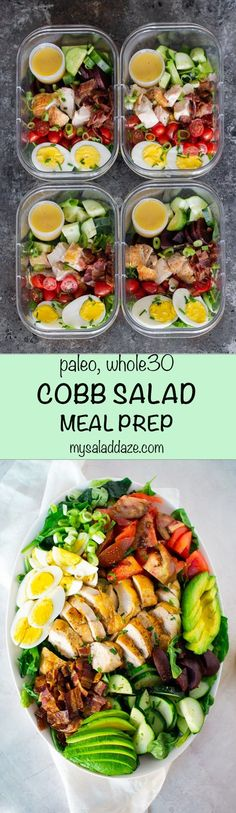 With a couple of adjustments, COBB SALAD is a great PALEO and WHOLE 30 friendly meal. Plus I have some tips to make this salad meal prep transportable. #cobbsalad #salad #mealprep #paleo #whole30 #mysaladdaze #recipe | mysaladdaze.com