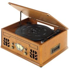 Itek I60011 Antique Record, Cd, Cassette And Radio Player (335 BRL) ❤ liked on Polyvore featuring music