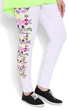Deb Shops Plus Size White #Legging with #Neon Tribal Print Trim $15