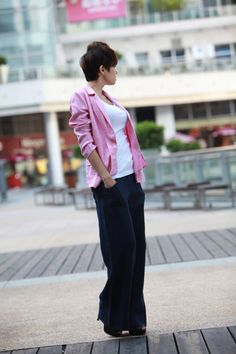 Grey Pink Casual Women Linen Jacket  NC080 by Sophiaclothing, $63.99