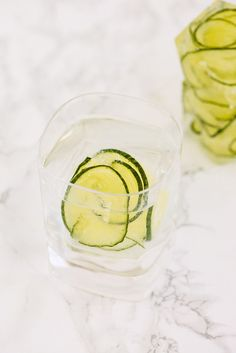 Spiralized Cucumber Ice Cubes